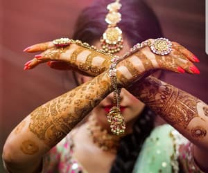 bride, colorful, and mehndi image