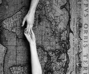 black&white, hands, and map image