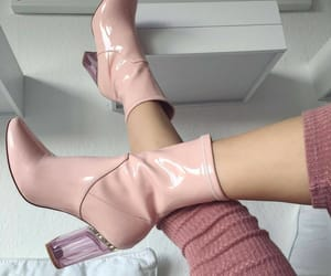 ankle boots, pink, and heel image