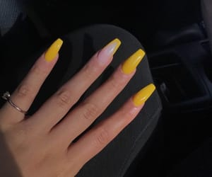 nails, yellow, and acrylic image