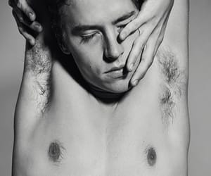 black and white, shirtless, and cole sprouse image