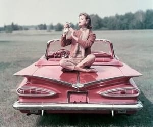 vintage, car, and pink image