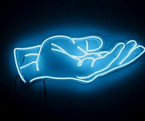 blue, neon, and hand image