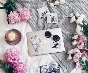 coffee, peonies, and white image