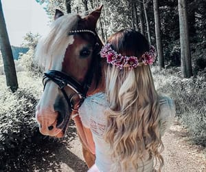 animal, blonde, and flowers image