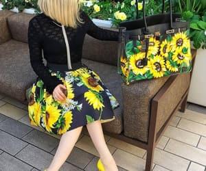 black jacket, fashion, and flowers image