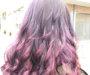 hairstyle, purple, and purple hair image