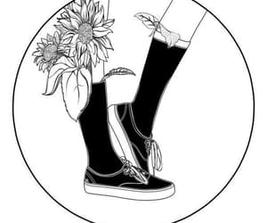 black, black and white, and flower image