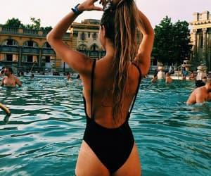 girl, summer, and pool image