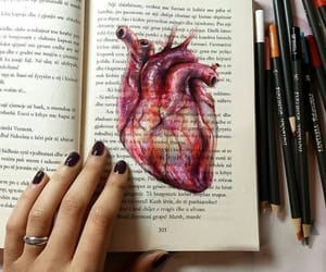 book, drawing, and heart image