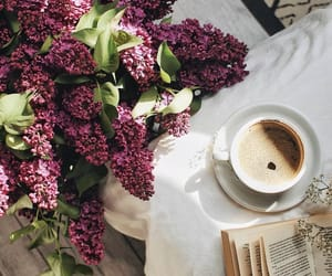 coffee, flowers, and violet image