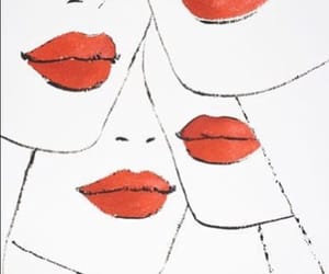 lips, red, and illustration image