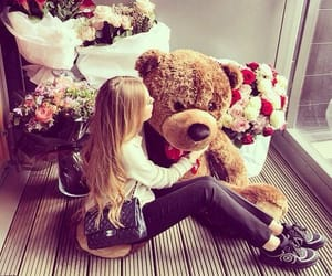 girl, flowers, and bear image