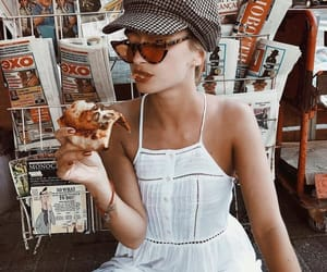 fashion, girl, and pizza image