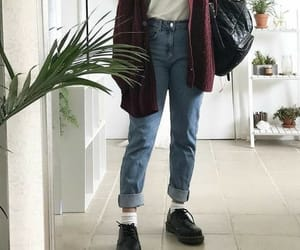 cardigan, dr martens, and fashion image