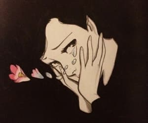 art, flowers, and tears image