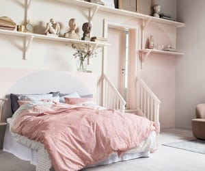 pink, pink bedroom, and pink and grey image