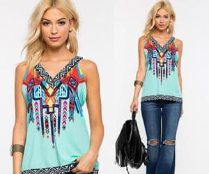 roma top in tribal print image