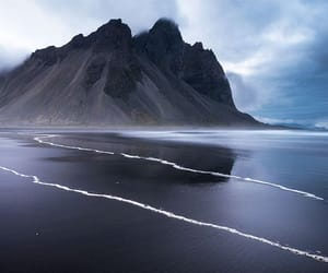 beach, black sand, and iceland image