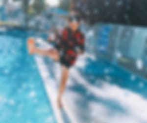 blurry, pool, and boy image