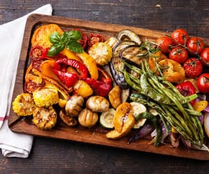 food, grill, and vegetables image
