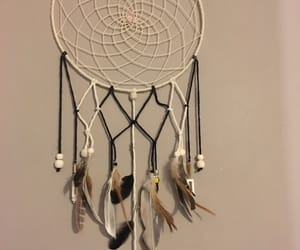 black&white, dreamcatcher, and feather image