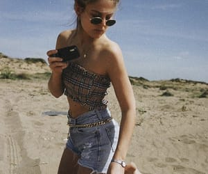 beach, camera, and girl image