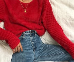 beauty, jeans, and red image