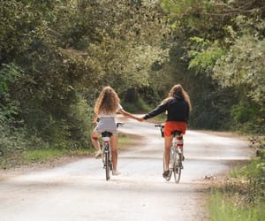 best friends, summer, and bike image