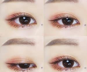 brown eyes, eye makeup, and korean image