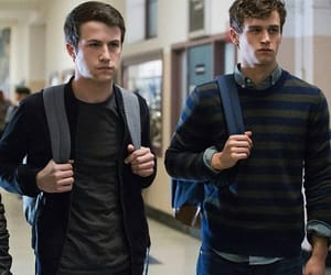 dylan minnette, clay jensen, and justin foley image