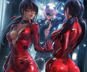 Chat Noir, lady bug, and sakimi chan image