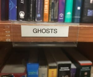 library, books, and ghost image
