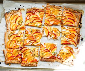 food, peach, and pie image