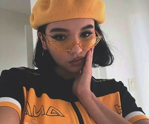 yellow, black, and outfit image