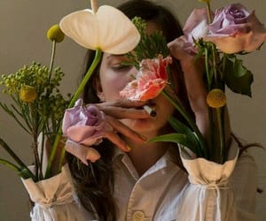 flowers, girl, and cigarette image