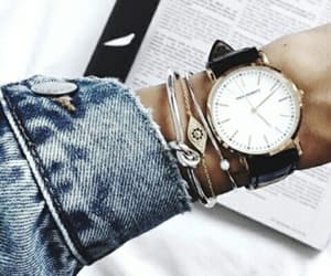 watch, denim, and style image
