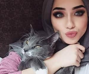 beauty, hijab, and cat image