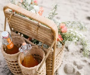 beach, flowers, and french image
