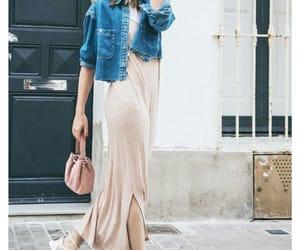 outfits, mezclilla, and long dress image