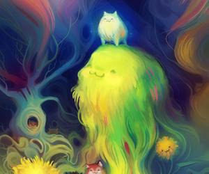 cat, digital art, and dog image