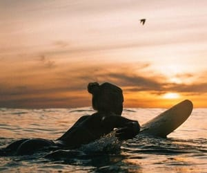 surf, girl, and sunset image