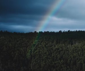 adventure, nature, and rainbow image