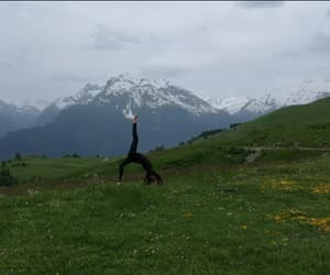 meditation, mountain, and yoga pose image