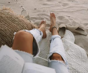 beach, summer, and jeans image