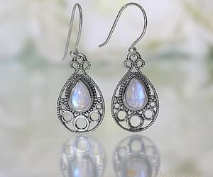 earrings, moonstone jewelry, and rainbow moonstone earring image