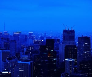 black, city, and blue image