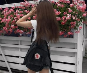 fjallraven kanken, girl, and flowers image