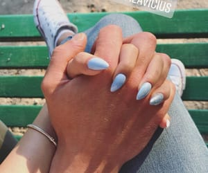 blue nails, hands, and inlove image