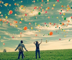 balloons, sky, and boy image